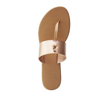 Metallic T-Strap Slide Sandals