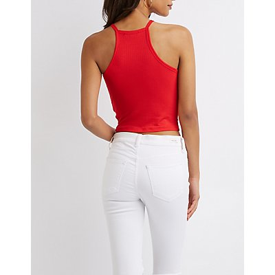 Ribbed Bib Neck Crop Top