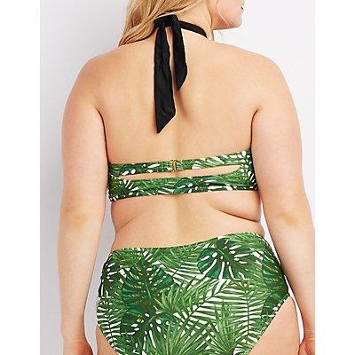 Plus Size Printed Halter Bikini Top