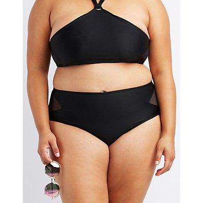 Plus Size Mesh-Trim High-Waisted Bikini Bottoms