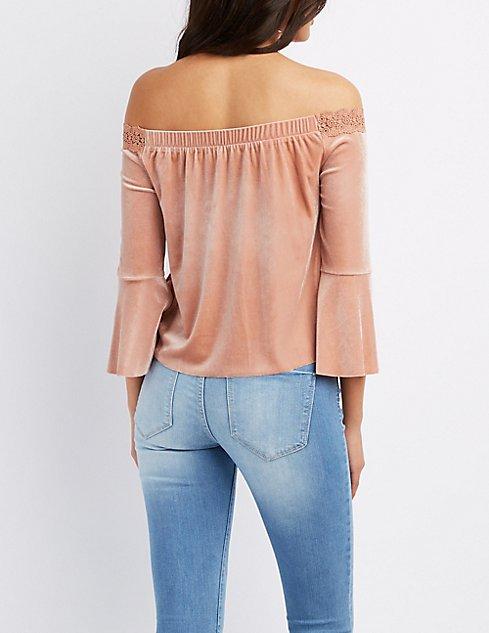 491ca82de6a4a ... Velvet Crochet-Trim Off-The-Shoulder Top