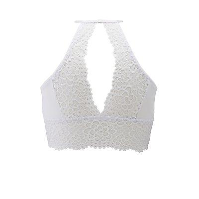 Plus Size Lace Bib Neck Cut-Out Bralette