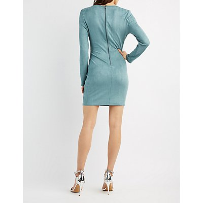Faux Suede Lattice-Inset Bodycon Dress