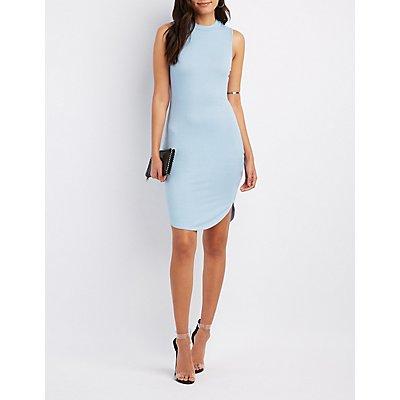 Ribbed Mock Neck Midi Dress