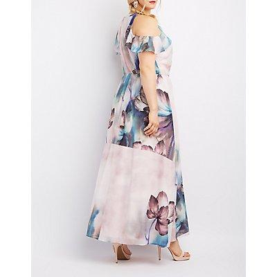 Plus Size Floral Surplice Cold Shoulder Maxi Dress