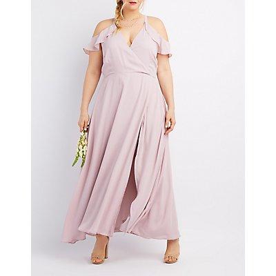 plus size surplice cold shoulder maxi dress | charlotte russe