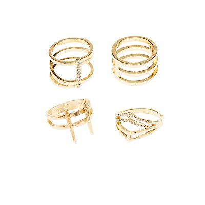 Plus Size Caged Stackable Rings - 4 Pack