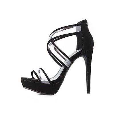 Clear Strap Crisscross Sandals