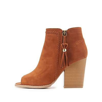Braided-Trim Peep Toe Booties