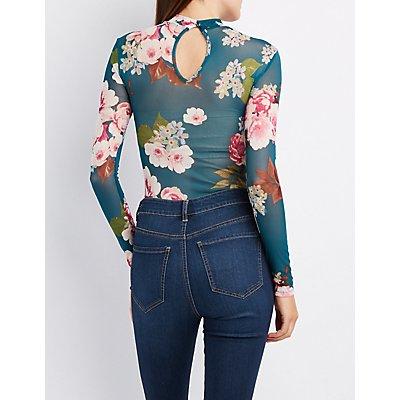 Floral Mesh Mock Neck Bodysuit