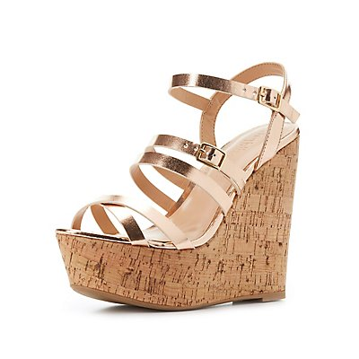 Metallic Strappy Wedge Sandals