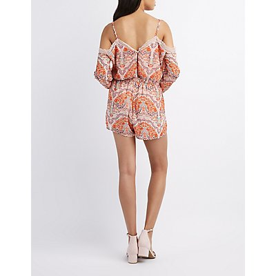 Floral Lace-Trim Cold Shoulder Romper