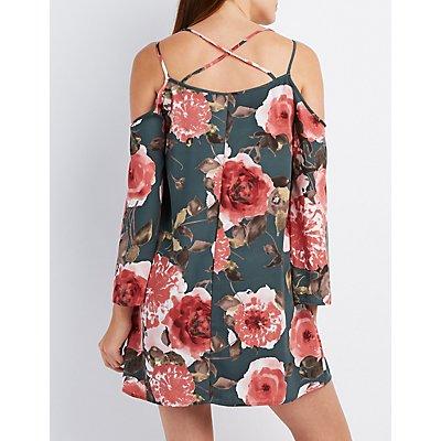 Floral Strappy Cold Shoulder Shift Dress