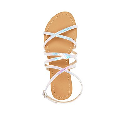Iridescent Strappy Slingback Sandals