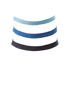 Denim Choker Necklaces - 3 Pack