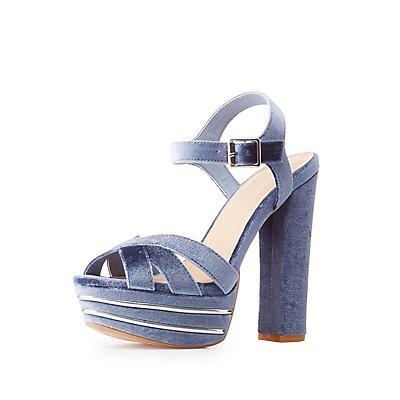 Velvet Two-Piece Platform Sandals