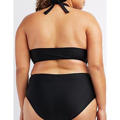 Plus Size Crochet-Trim Convertible Bikini Top