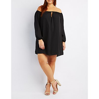 Plus Size Off-The-Shoulder Keyhole Dress