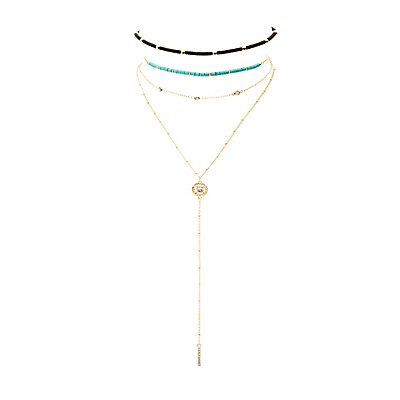 Beaded Choker & Chainlink Layered Necklace - 2 Pack