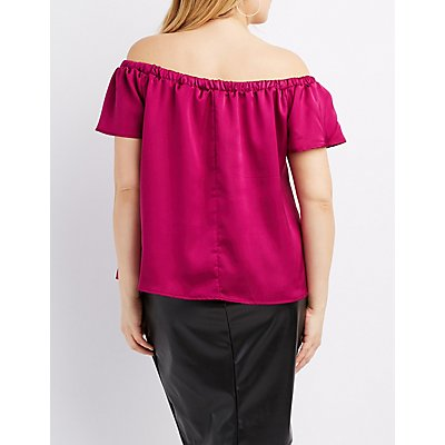 Plus Size Satin Off-The-Shoulder Top