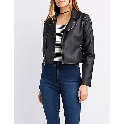 Printed Faux Leather Moto Jacket