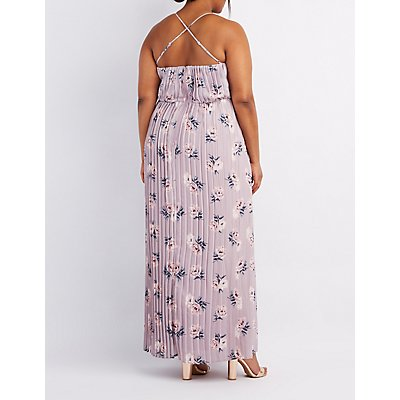 Plus Size Floral Pleated V-Neck Maxi Dress