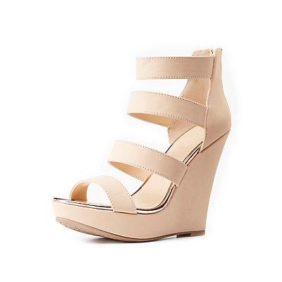 Strappy Gold-Trim Wedge Sandals
