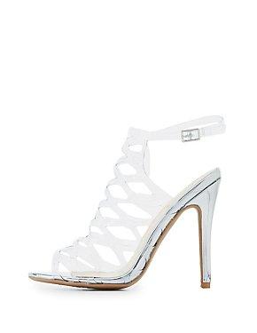 Qupid Clear Laser Cut Dress Sandals