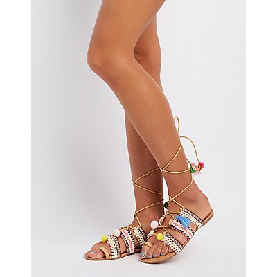 Embroidered Lace-Up Gladiator Sandals