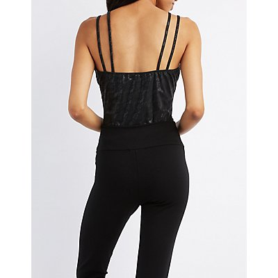 Faux Leather T-Strap Bodysuit