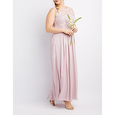 Plus Size Lace & Chiffon Maxi Dress