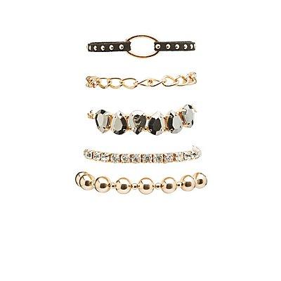 Beaded, Faux Suede & Rhinestone Layering Bracelets - 4 Pack