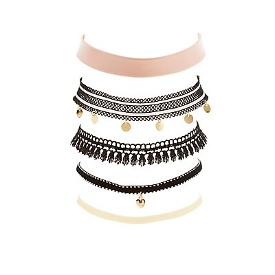Plus Size Mixed Choker Necklaces - 5 Pack