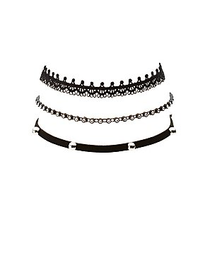 Beaded & Crochet Choker Necklaces - 3 Pack