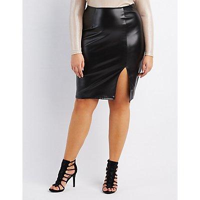 Plus Size Faux Leather Pencil Skirt