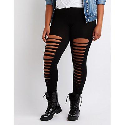 Plus Size Slashed Cotton Leggings