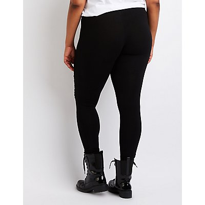 Plus Size Slashed Cotton Leggings