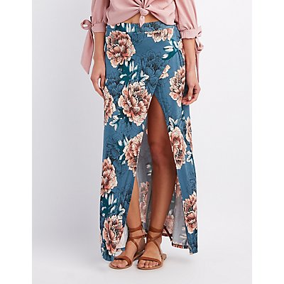 Floral Wrap Slit Maxi Skirt