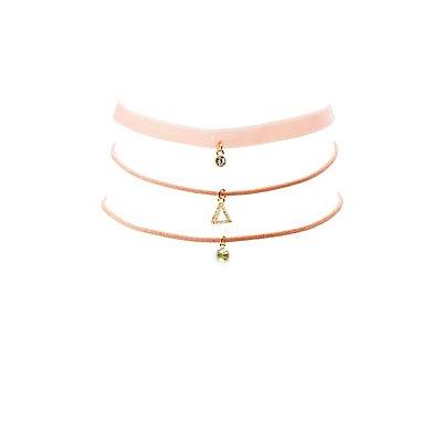 Faux Suede & Velvet Choker Necklaces - 3 Pack