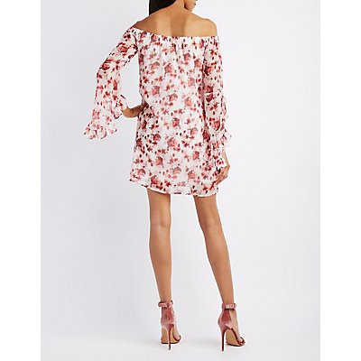 Floral Off-The-Shoulder Ruffle Sleeve Dress