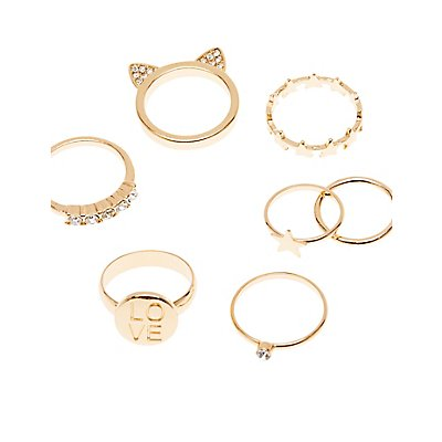 Stars & Stones Stackable Rings - 7 Pack