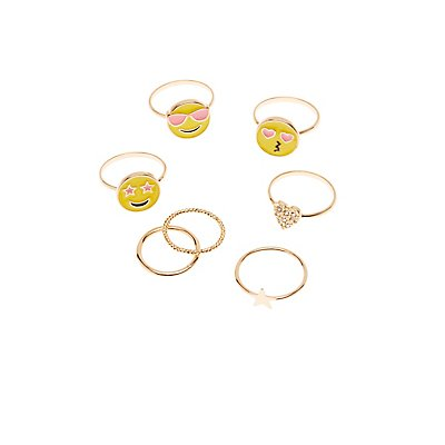 Happy Faces Stackable Rings - 7 Pack