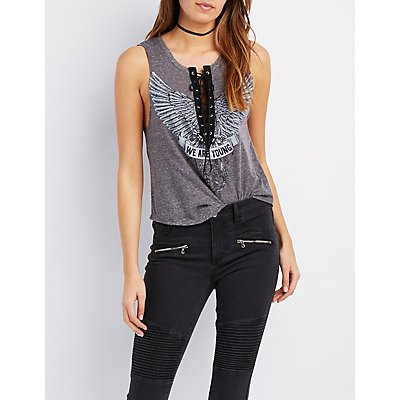 Graphic Lace-Up Muscle Tee