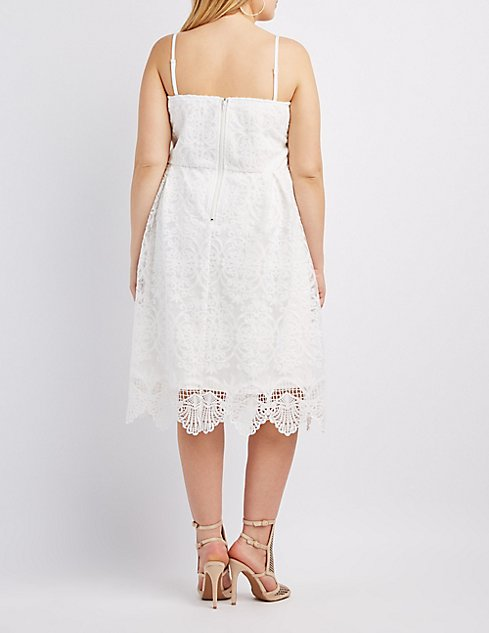 Plus Size Lace Sweetheart Strapless Dress | Charlotte Russe