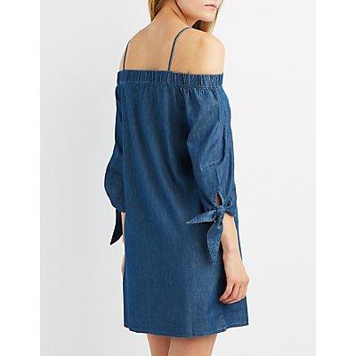 Chambray Cold Shoulder Shift Dress