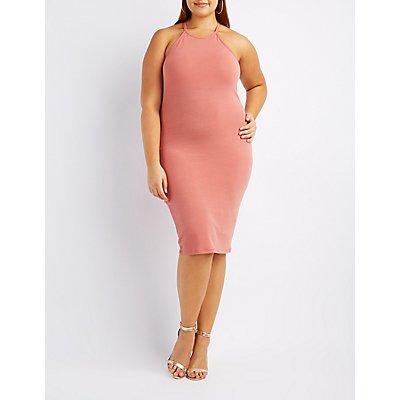 Plus Size Bib Neck Bodycon Dress