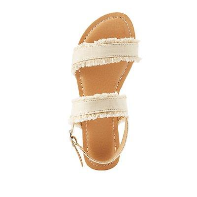 Frayed Denim Slingback Sandals