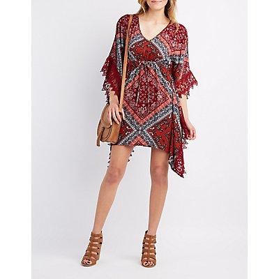 Crochet-Trim Kimono Shift Dress