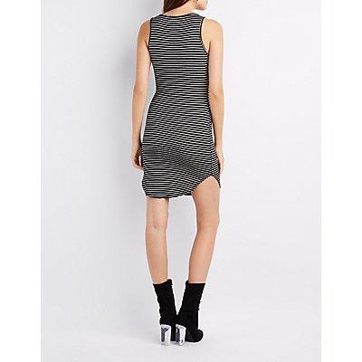Striped Scoop Neck Bodycon Dress