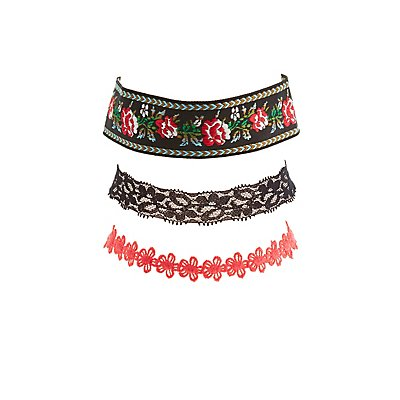 Lace, Crochet & Embroidered Choker Necklaces - 3 Pack